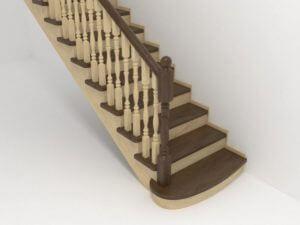 прямая лестница с коричневыми ступенями